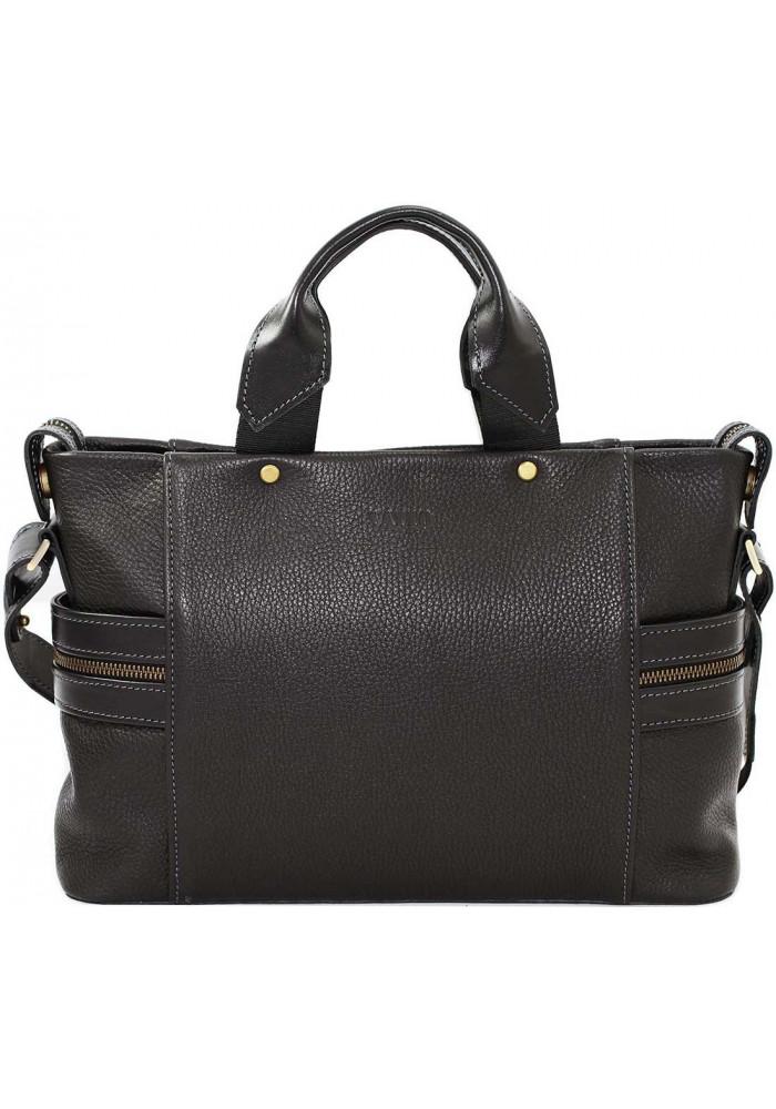 Компактная сумка мужская кожаная с двумя ручками Vatto черная