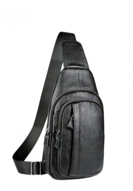 Фото Мужской кожаный слинг на одно плечо черный Tiding Bag A25F-6601A