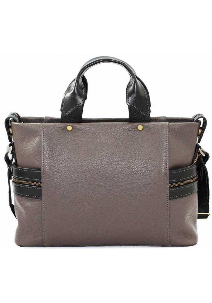 Компактная сумка мужская кожаная с двумя ручками Vatto серая