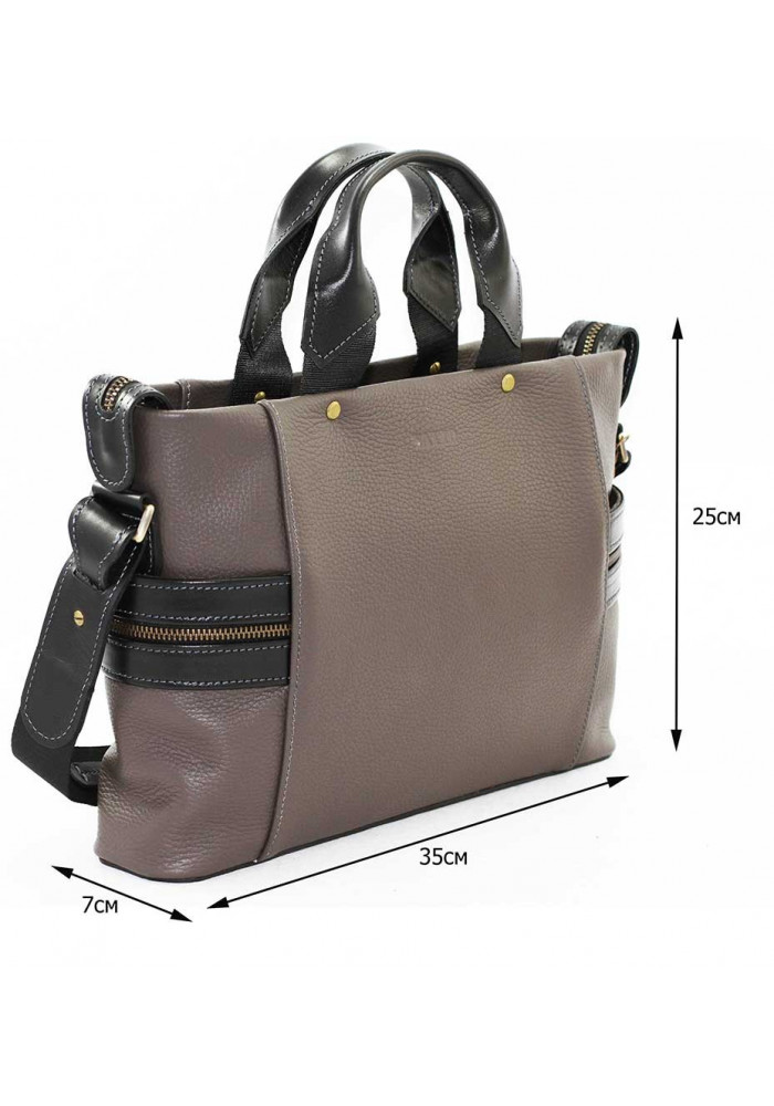 5b92fd73f1eb Компактная сумка мужская кожаная с двумя ручками Vatto серая, фото №2 -  интернет магазин ...