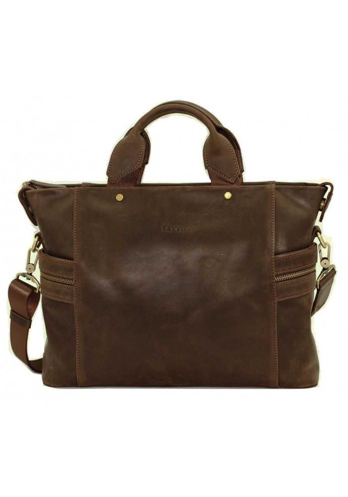 Компактная сумка мужская кожаная с двумя ручками Vatto коричневая матовая