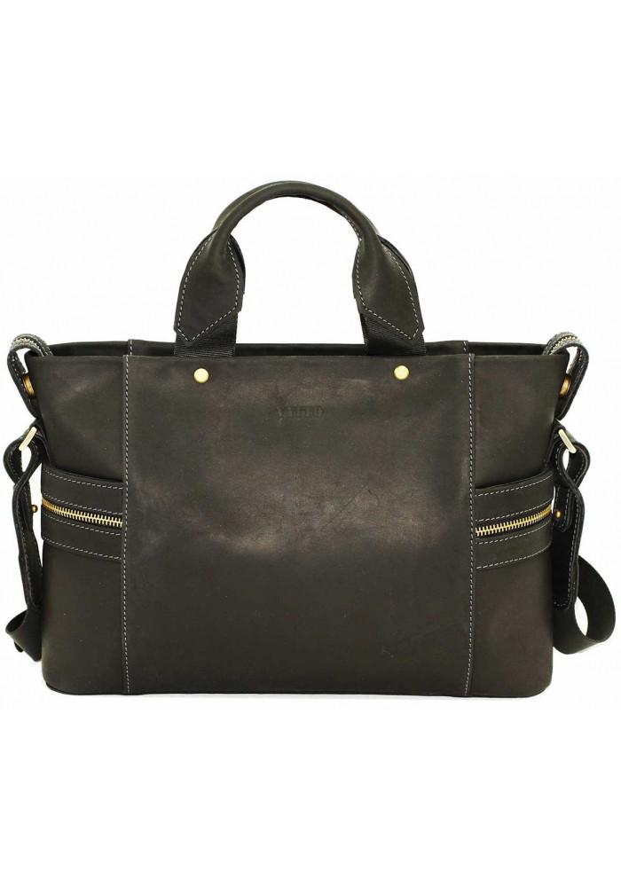 Компактная сумка мужская кожаная с двумя ручками Vatto черная матовая