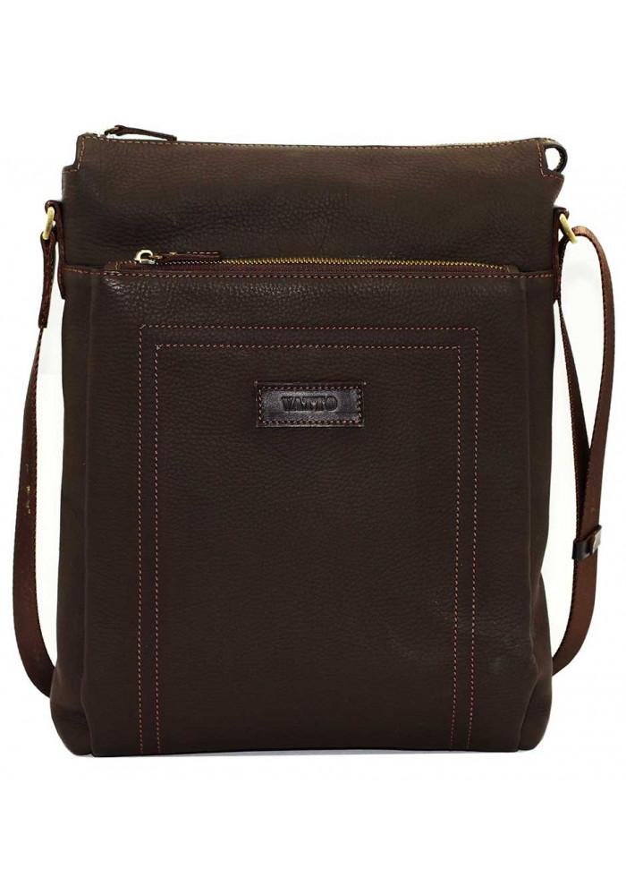 Большая вертикальная сумка мужская кожаная Vatto коричневая