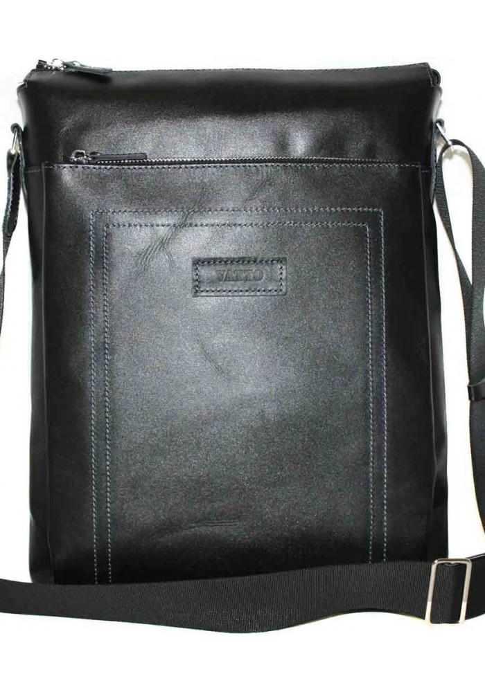 Большая вертикальная сумка мужская кожаная Vatto черная глянцевая
