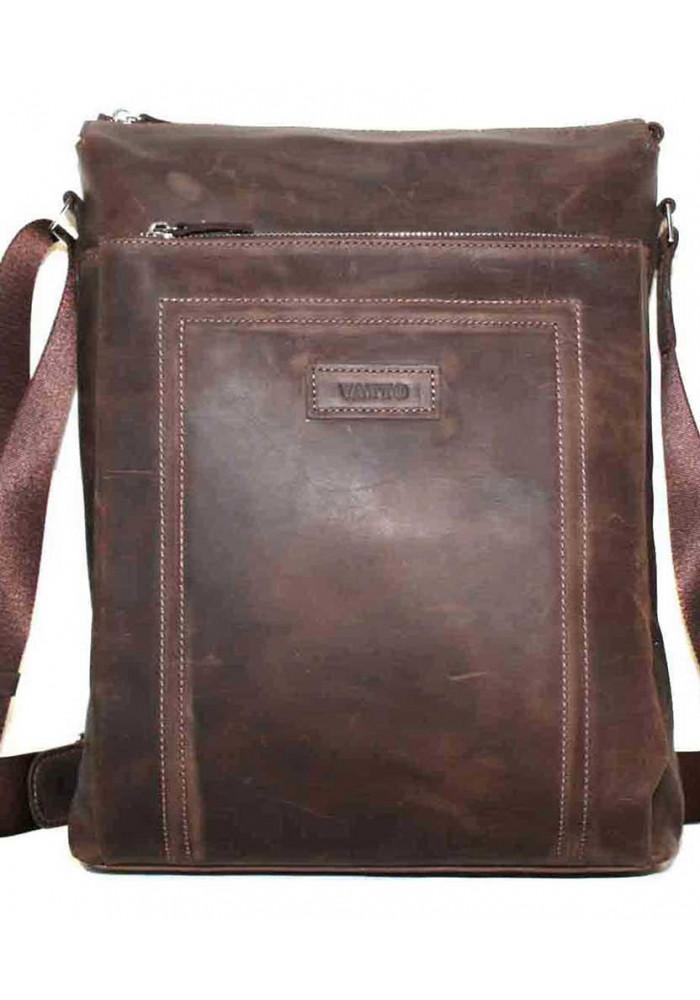 Большая вертикальная сумка мужская кожаная Vatto коричневая матовая