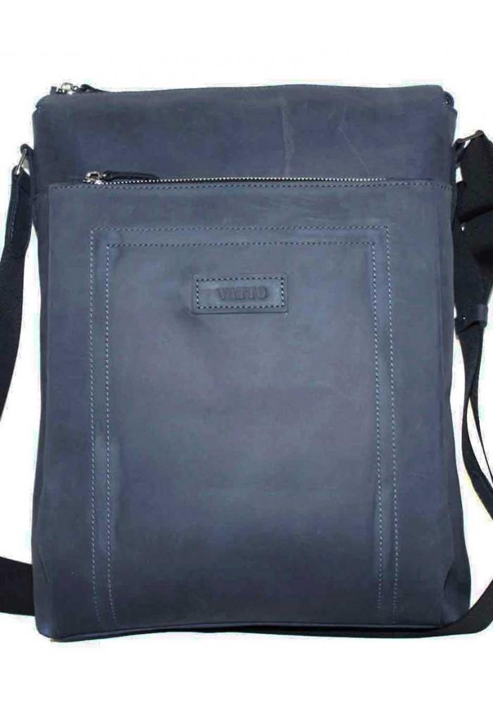 Большая вертикальная сумка мужская кожаная Vatto синяя