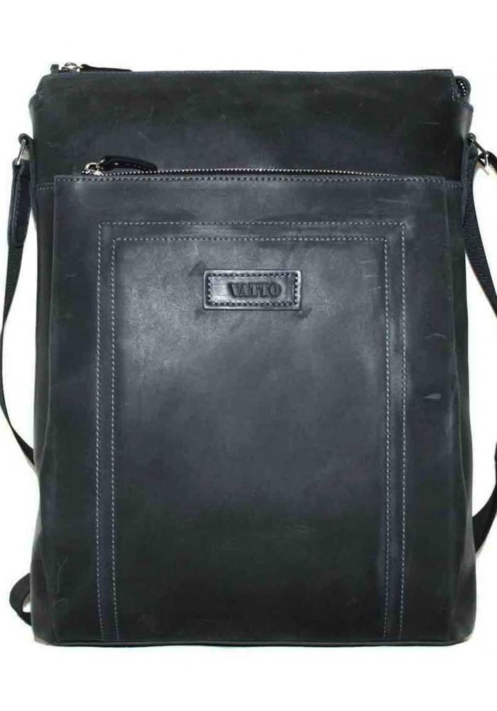 Большая вертикальная сумка мужская кожаная Vatto черная матовая