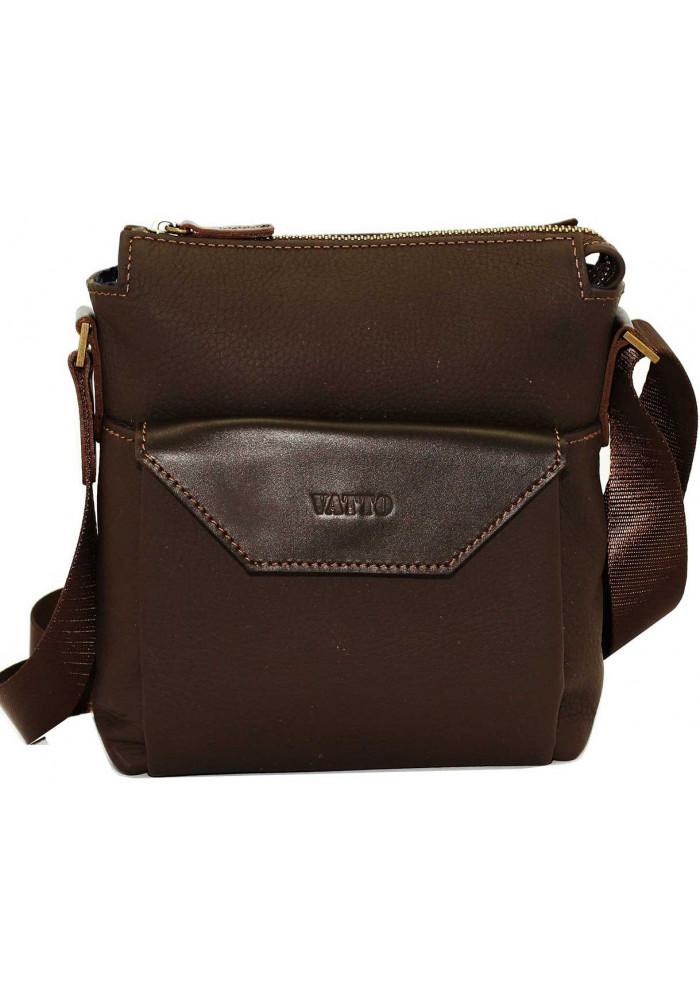 Маленькая сумка на плечо мужская кожаная Vatto коричневая