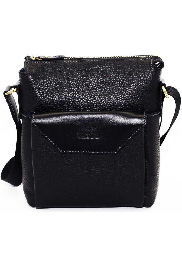 Маленькая сумка на плечо мужская кожаная Vatto черная