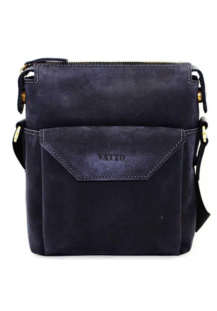 Маленькая сумка на плечо мужская кожаная Vatto синяя матовая