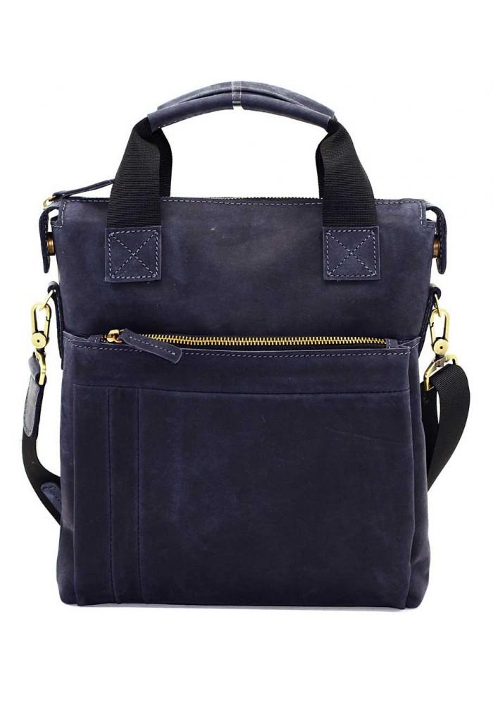 Натуральная кожаная сумка мужская Vatto синяя матовая