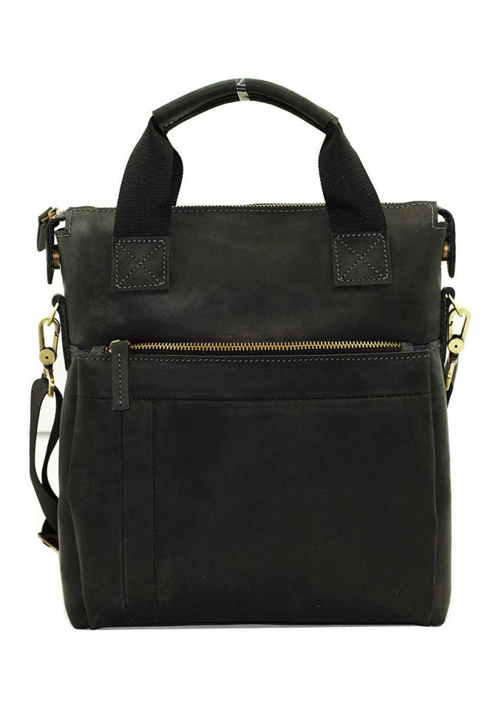 Натуральная кожаная сумка мужская Vatto черная