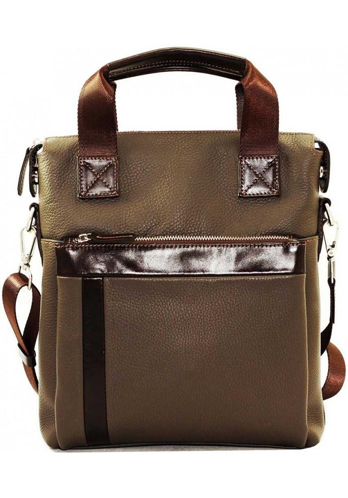 Натуральная кожаная сумка мужская Vatto серая