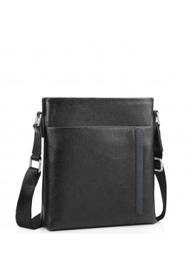 Фото Мужская кожаная сумка через плечо черная Tiding Bag A25F-9913-3A