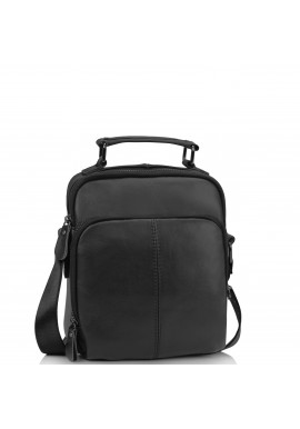 Фото Мужская кожаная сумка на плечо черная Tiding Bag M35-0118A