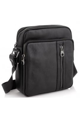 Фото Мессенджер через плечо мужской кожаный черный Tiding Bag 9836A