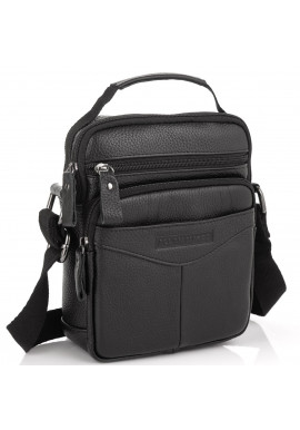 Фото Кожаная мужская сумка-мессенджер черная Allan Marco RR-9055A