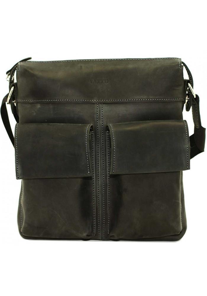 Мужская сумка из натуральной кожи Vatto черная матовая