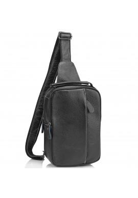 Фото Мужская кожаная сумка-слинг черная Tiding Bag M35-1306A