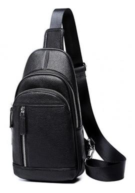 Фото Мужской черный кожаный слинг на плечо Tiding Bag A25F-5427A