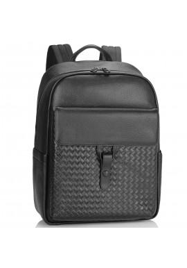 Фото Мужской кожаный рюкзак черный с плетением Tiding Bag NM11-8838A
