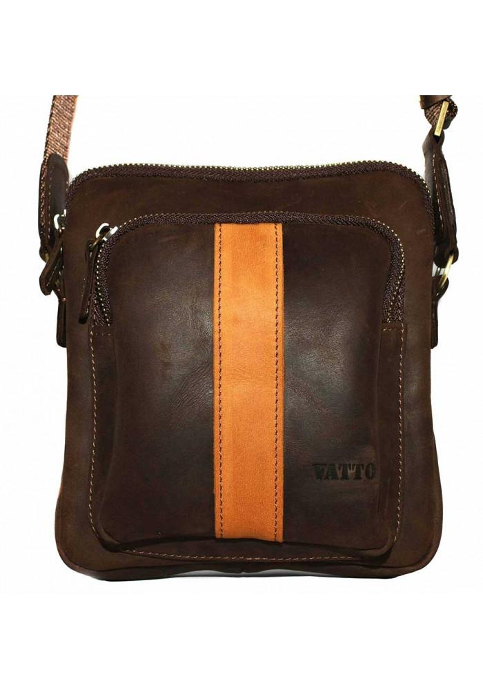 Брендовая сумка для мужчины кожаная Vatto коричневая матовая