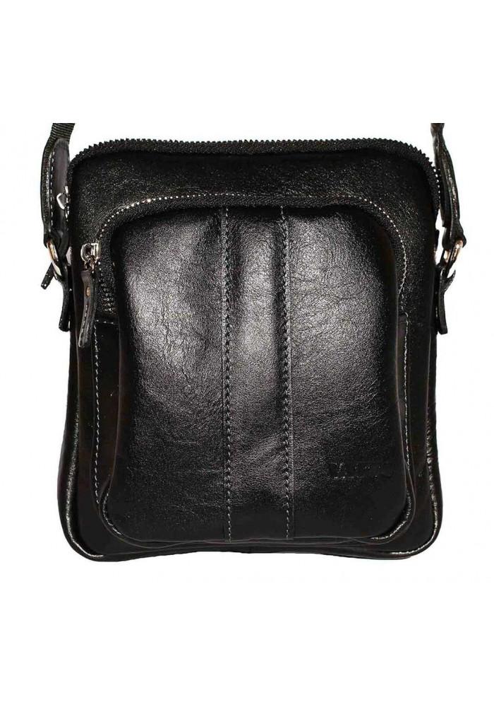 Брендовая сумка для мужчины кожаная Vatto из черной гладкой кожи