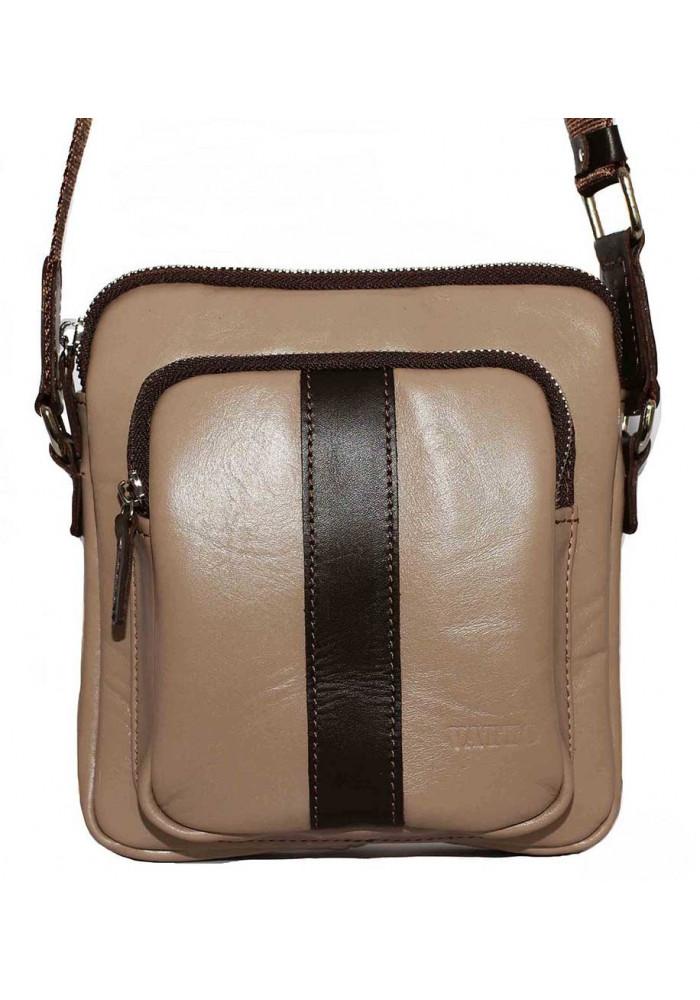 Брендовая сумка для мужчины кожаная Vatto бежевая