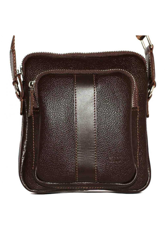 Брендовая сумка для мужчины кожаная Vatto коричневая глянцевая