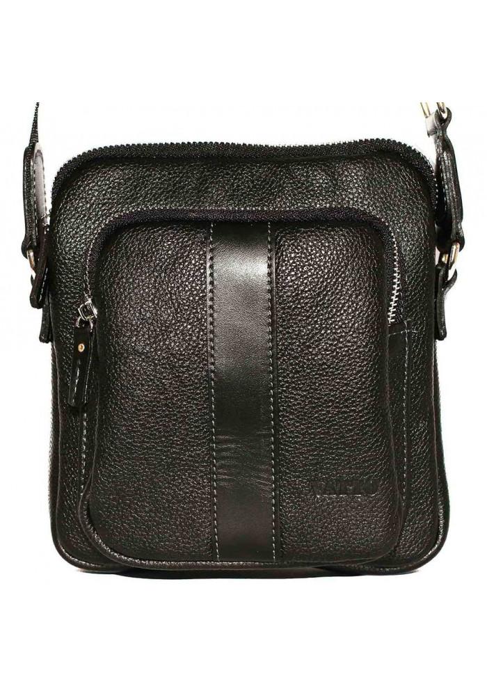 Брендовая сумка для мужчины кожаная Vatto черная