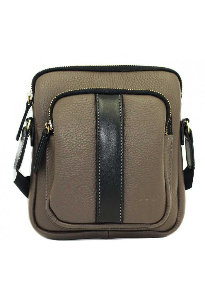 Брендовая сумка для мужчины кожаная Vatto серая