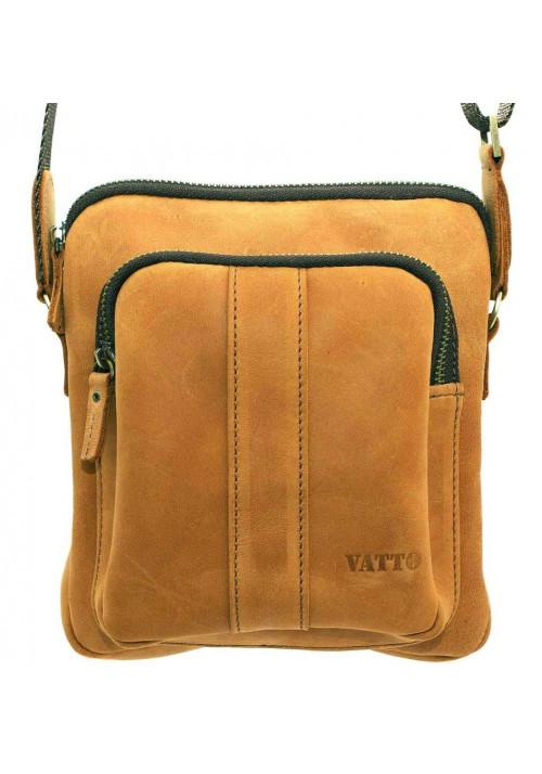 Брендовая сумка для мужчины кожаная Vatto рыжая
