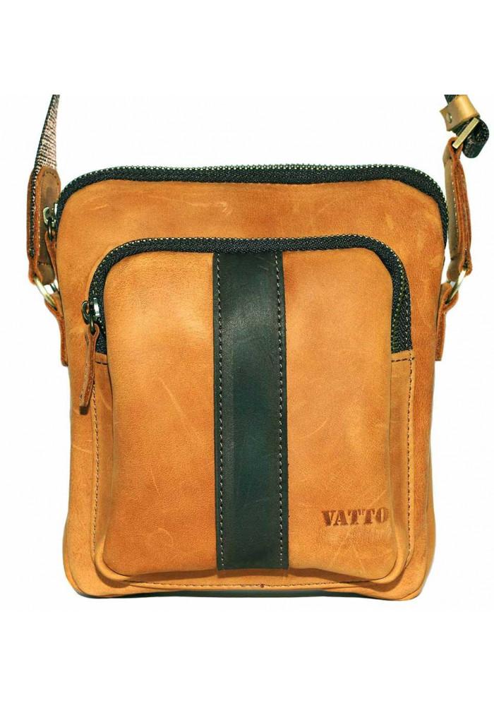 Брендовая сумка для мужчины кожаная Vatto рыжая с коричневой вставкой