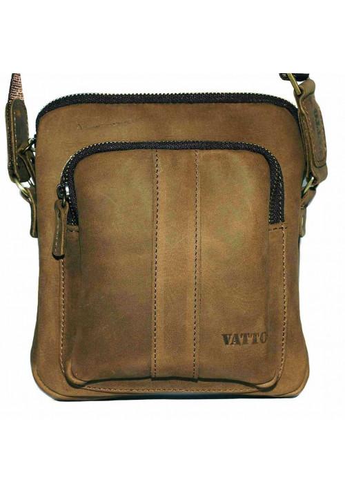 Брендовая сумка для мужчины кожаная Vatto песочная