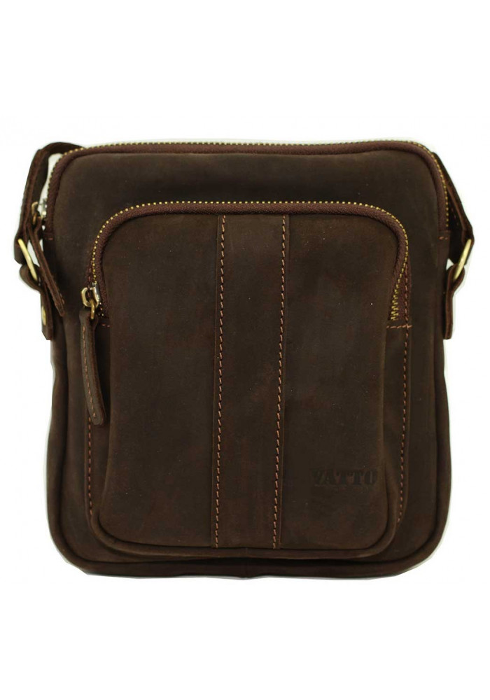 Брендовая сумка для мужчины кожаная Vatto коричневая