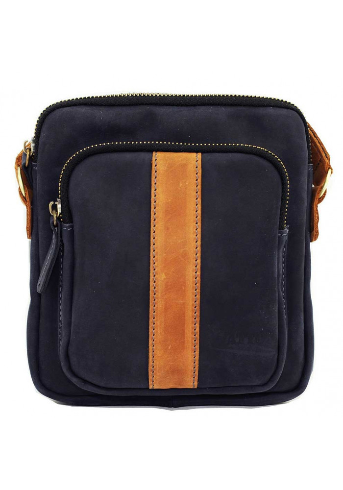 Брендовая сумка для мужчины кожаная Vatto синяя матовая