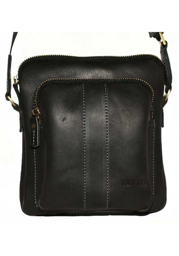 Брендовая сумка для мужчины кожаная Vatto черная матовая