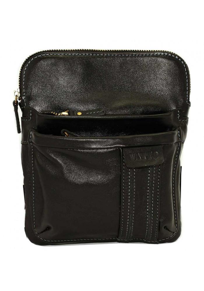 Брендовая сумка-планшет для мужчины Vatto черная гладкая