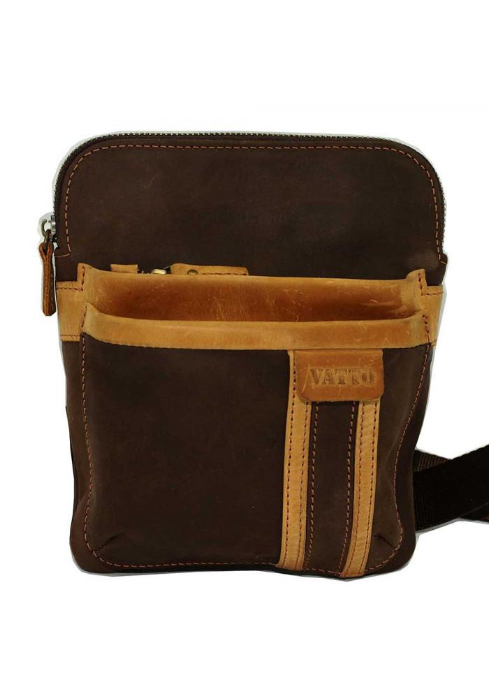 Брендовая сумка-планшет для мужчины Vatto коричневая с рыжей вставкой