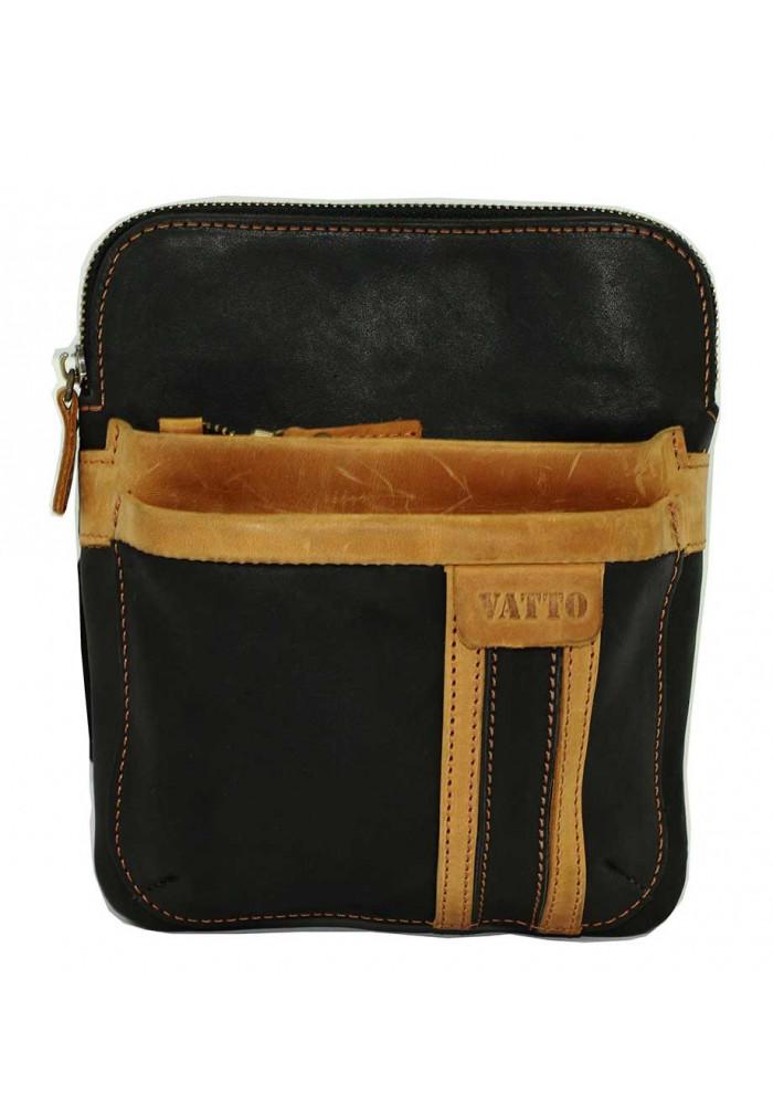 Брендовая сумка-планшет для мужчины Vatto черная с рыжей вставкой