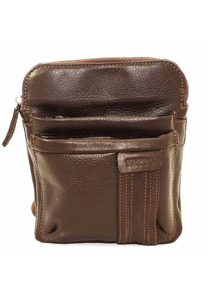 Брендовая сумка-планшет для мужчины Vatto коричневая гладкая