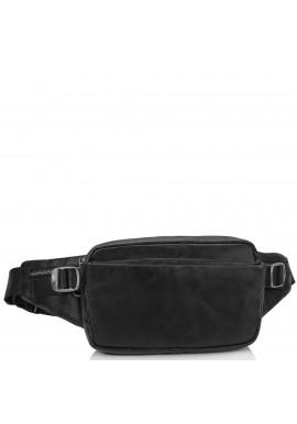 Фото Сумка на пояс из натуральной кожи черная Tiding Bag 1001A