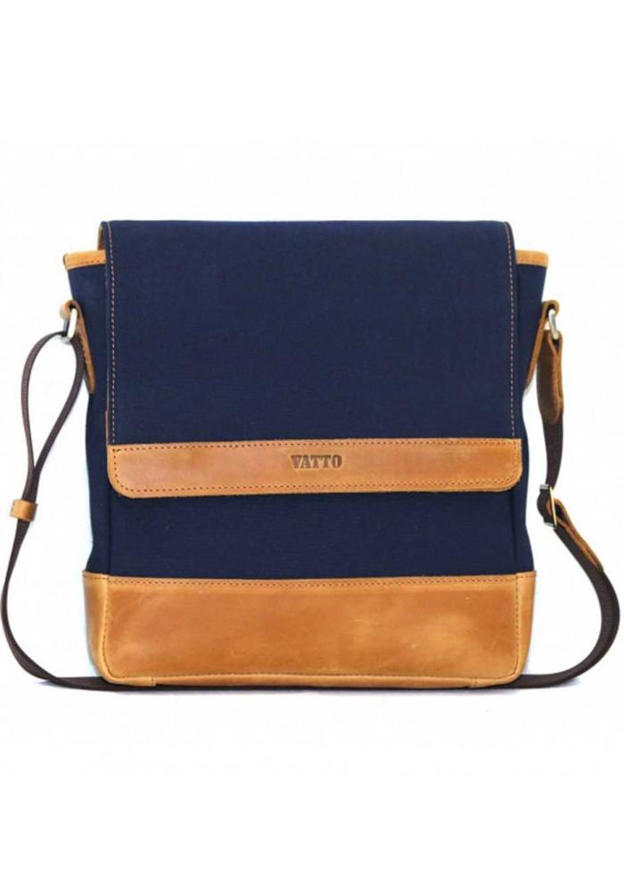 Мужская сумка брендовая из ткани Vatto синяя с рыжими вставками
