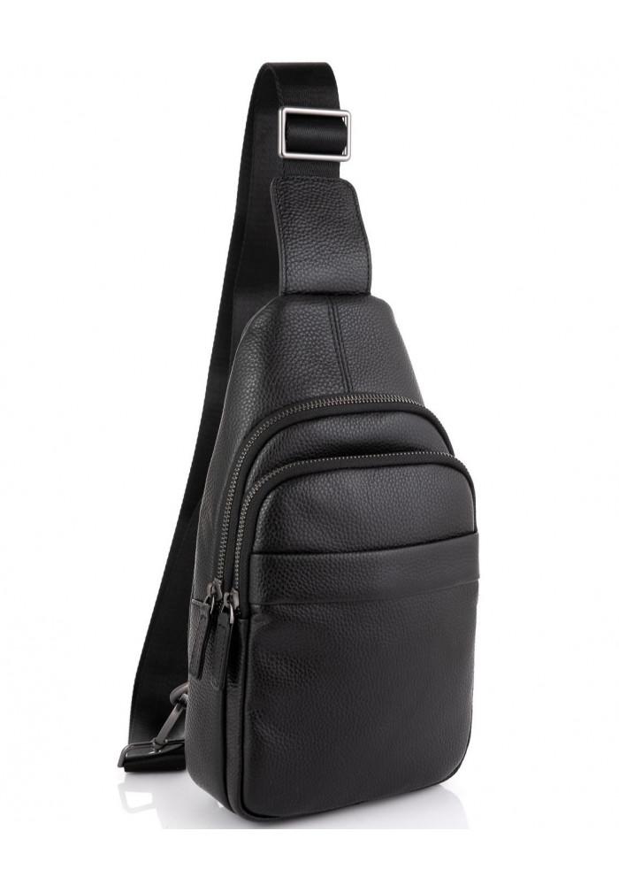 Фото Мужской кожаный черный слинг на плечо Tiding Bag SM8-015A