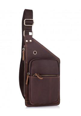 Фото Мужской кожаный слинг в винтажном стиле коричневый Tiding Bag t0035