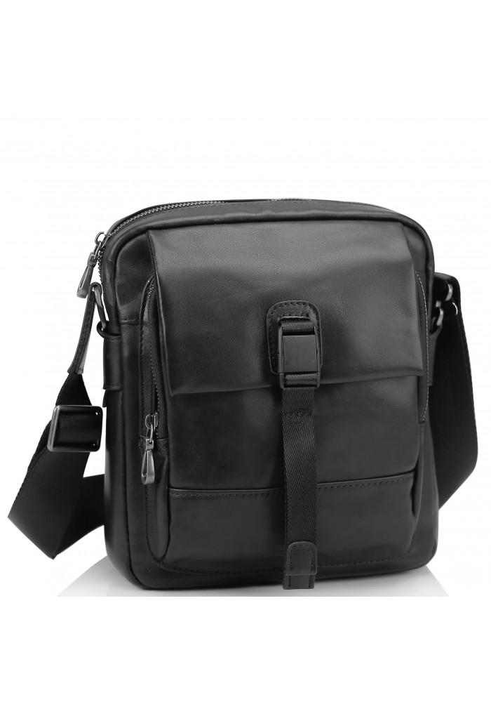 Фото Мужская кожаная сумка через плечо черная Tiding Bag 316A