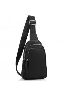 Фото Мужской черный кожаный слинг на плечо Tiding Bag SM8-356A