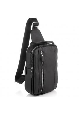 Фото Мужской кожаный слинг на одно плечо черный Tiding Bag A25F-693A