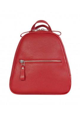 Фото Небольшой женский кожаный рюкзак ISSA HARA красный