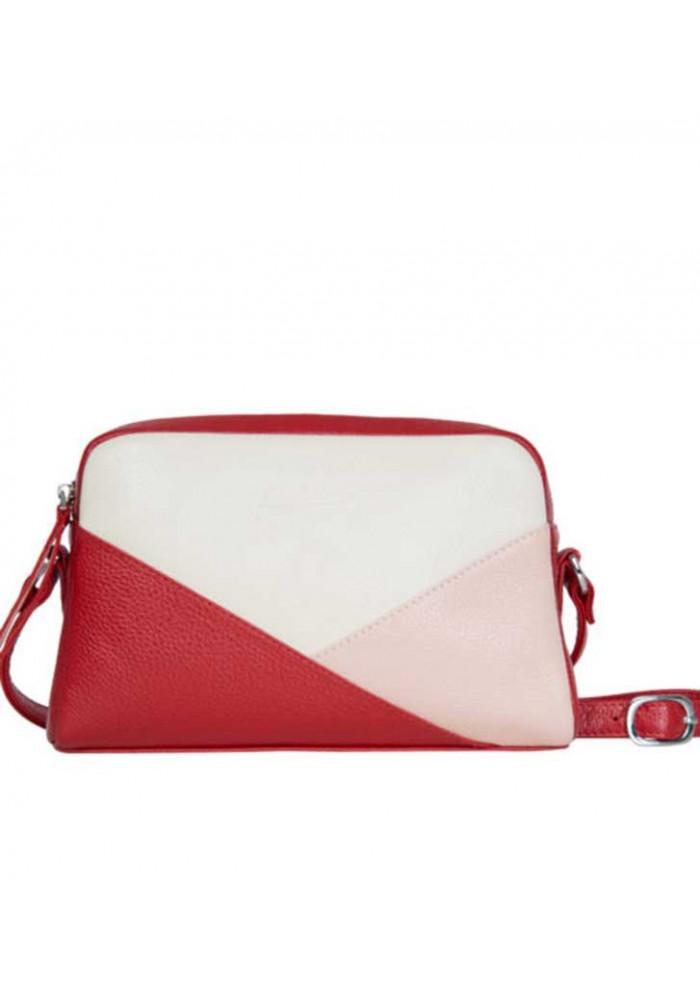 Женская кожаная сумка-клатч ACTIVE WOMAN ISSA HARA бело-красная